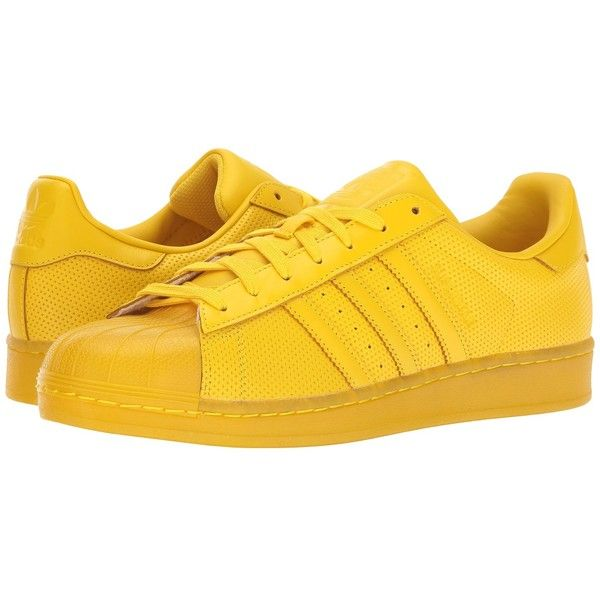 adidas Originals Superstar AdiColor (Yellow/Yellow/Yellow) Athletic... ($90) ❤ liked on Polyvore featuring shoes, star shoes, striped shoes, laced shoes, perforated shoes and rubber shoes