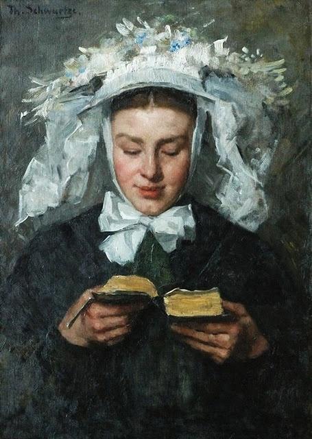 Thérèse Schwartze (Amsterdam artist, 1851-1918) Young Woman Reading in Brabant Costume