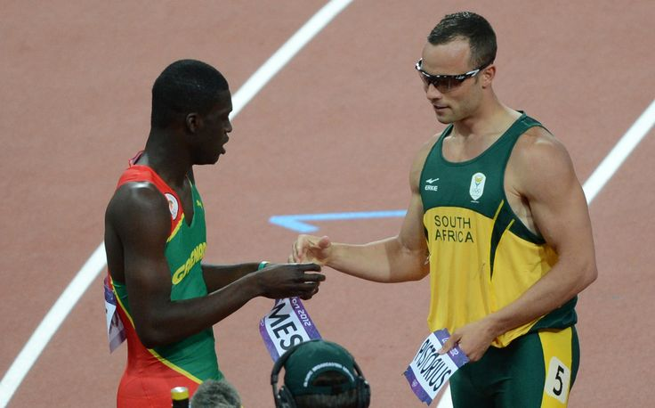 Oscar Pistorius and Kirani James Exchange Bibs :)