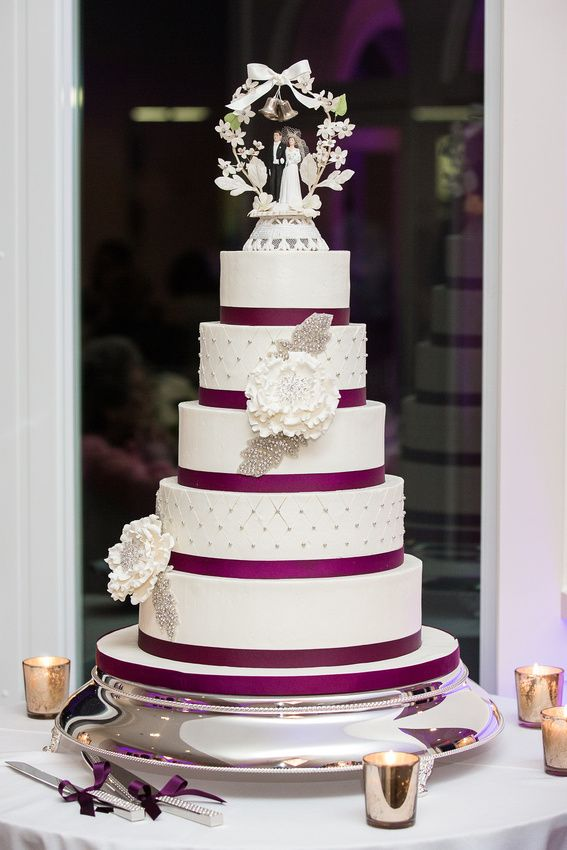Antique Cake Topper With White Wedding And Purple Ribbon Erin Alexs At The