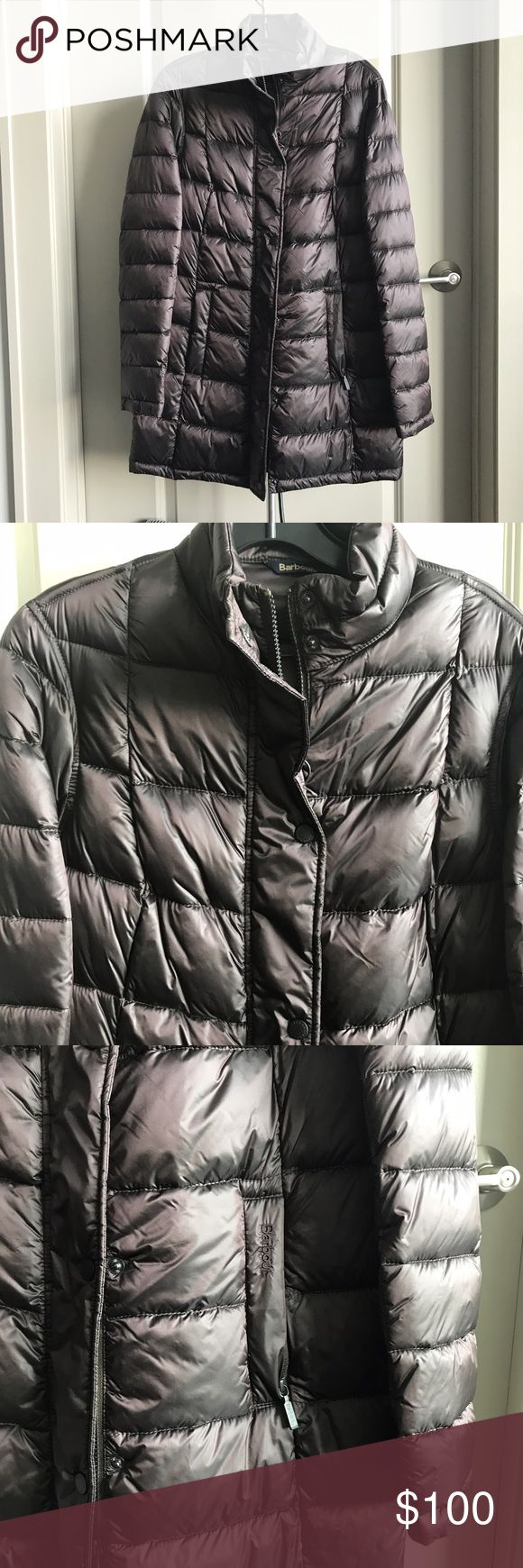 Barbour puffer coat Barbour puffer coat. Dark plum purplish color (very pretty). Has front zipper and snap closure. Side zip pockets and stand collar hood. New without tags. Perfect condition. Size 6. Barbour Jackets & Coats Puffers