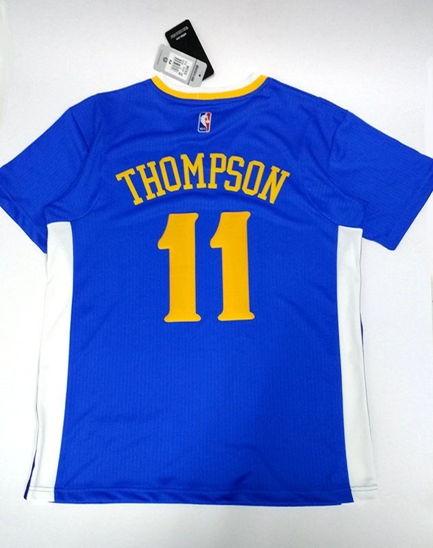 NBA Golden State Warriors #11 Klay Thompson Warriors sleeved jersey Back