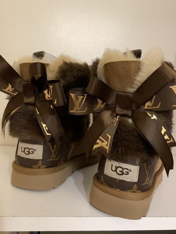 Womans Ugg Boots Customized With Louis Vuitton Coated canvas