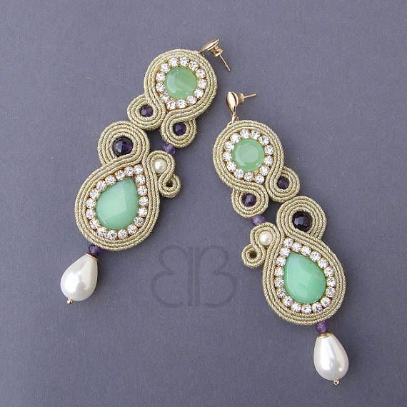 Shine earrings soutache with green jade and amethyst