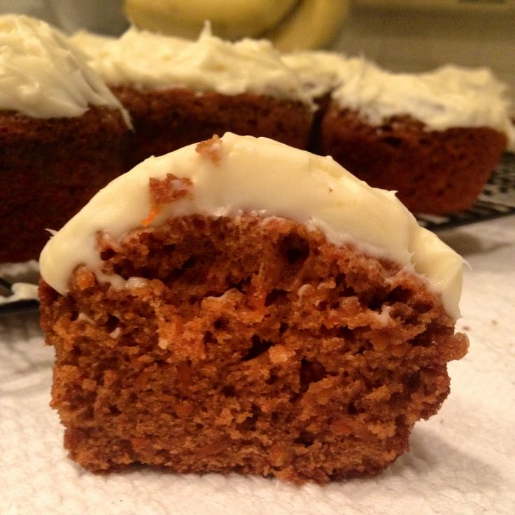 Carrot cupcake with brown butter cream cheese frosting