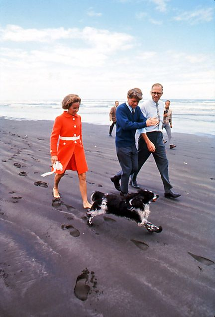 Bobby Kennedy and Ethel Kennedy walk on the beach in Oregon. Bobby wanted to swim but did not want the press to photograph him. 1968.