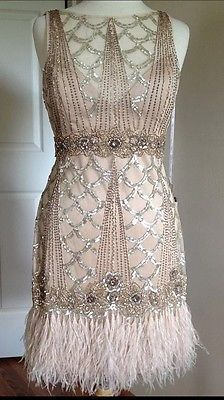 SUE WONG 1920's Champagne Beaded Sequin Feather Evening Bridal Wedding Dress 6