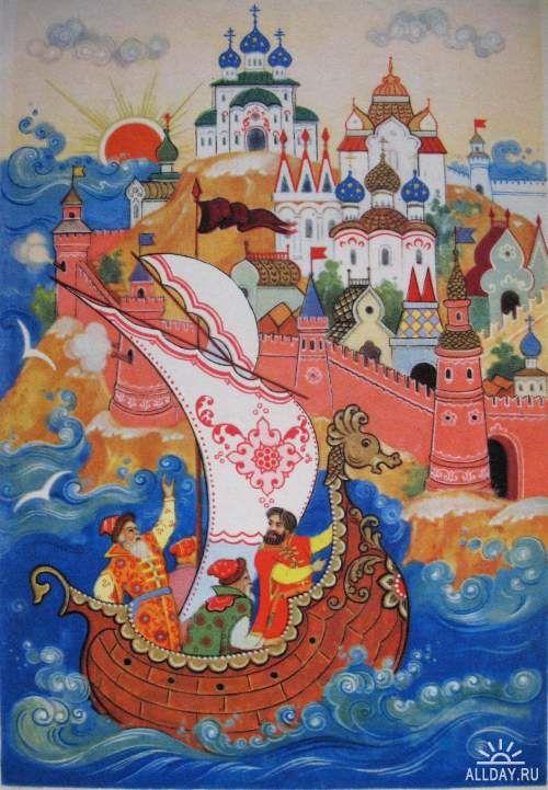 Constantin Bokarev: Tale of Tsar Sultan by Pushkin, 1961 (Palekh)