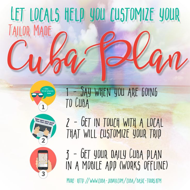 Tailor made Cuba trip made by locals. Get your plan in a mobile app http://www.cuba-junky.com/cuba/basic-tours.htm