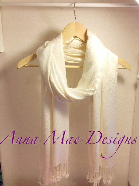 Super Soft Cream / Ivory Colored Pashmina Scarf by AnnaMaePatterns, $9.95