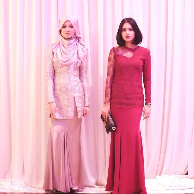 It's always with @rnadiasabrina I get to do this. Thanks love. I'm wearing @yadotsa lace kurung with see thru cut-out detailing and @rnadiasabrina is wearing brocade kurung from @pu3designs #mintotfikri #wedding
