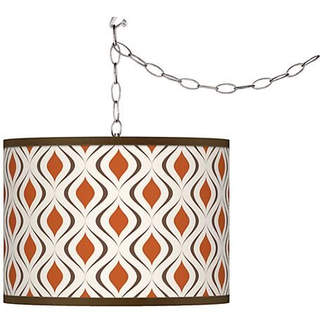 Retro Lattice Swag Style Giclee Shade Plug-In Chandelier - #F9542-4J262 | www.lampsplus.com