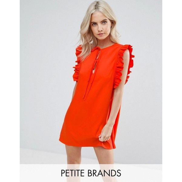 Fashion Union Petite Ruffle Detail Tie Front Shift Dress (£26) ❤ liked on Polyvore featuring dresses, petite, red, red holiday party dress, going out dresses, red ruffle dress, day party dresses and night out dresses