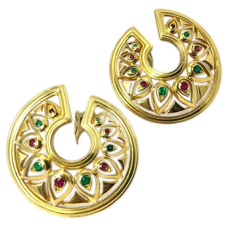 Cartier Ruby Emerald Gold Medallion Ear-Clips  1