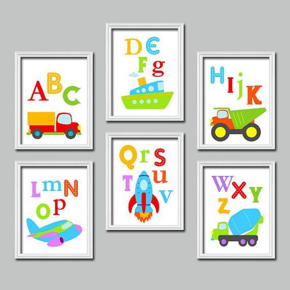 ¡ Coches de la pared arte, lona o impresiones infantiles niño brillante alfabeto ABC transporte conjunto de cuna de niño 6 dormitorios infantiles
