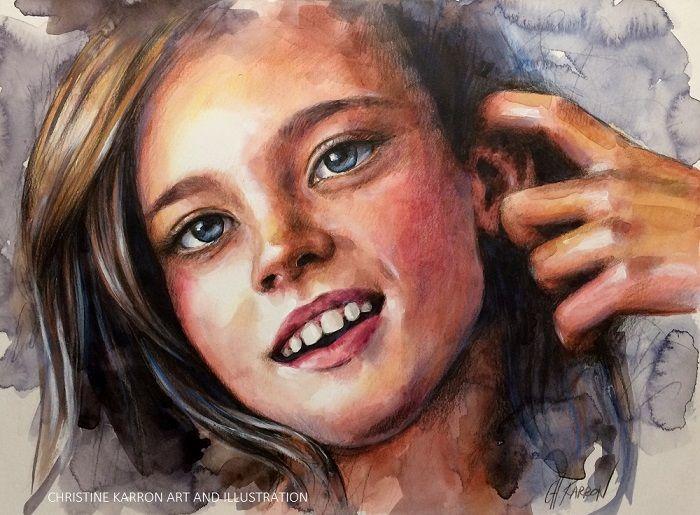 """Mixed media portrait by Christine Karron, 9x12"""" Watch videos: https://www.youtube.com/watch?v=k2I5If8Wu_c  https://www.youtube.com/watch?v=bmLFxfSjt9Y"""