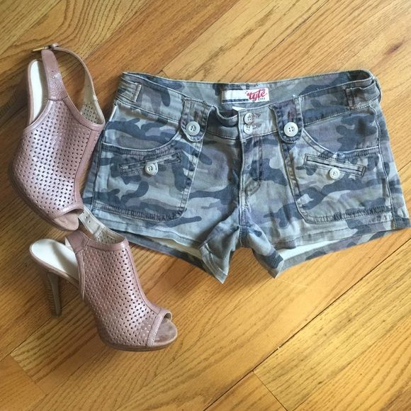 Camo Jean Shorts Excellent condition Jean shorts with stretch. Low rise style. Feel free to make me an offer. Same day shipping on all orders! No trades Tyle Jeans Shorts Jean Shorts