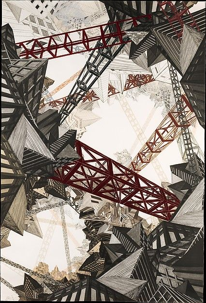 Nicola Lopez. Scaffold City. 2008. Etching, linoleum cut and collage. 59-9/16 x 83-5/8 in.