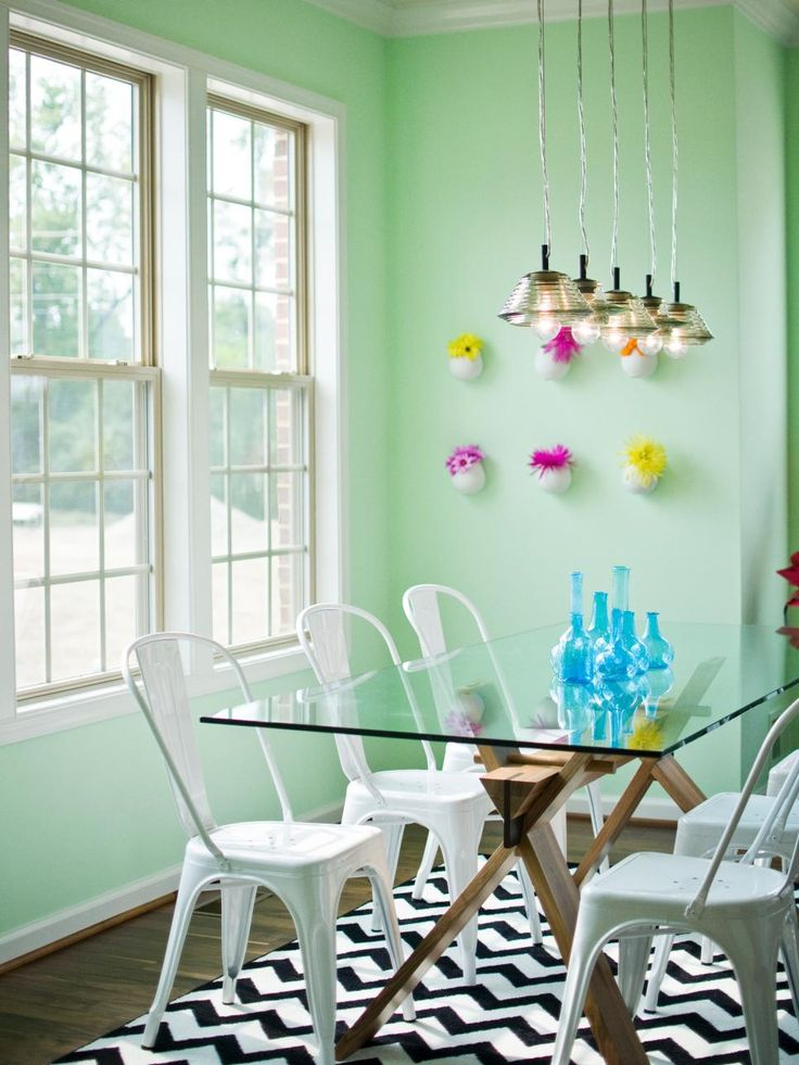 This Contemporary Dining Room Was Painted A Happy Celadon Green And  Grounded With A Black And