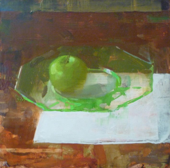 Jon Redmond, Two Greens, 2013, oil on board, 10 x 10 inches