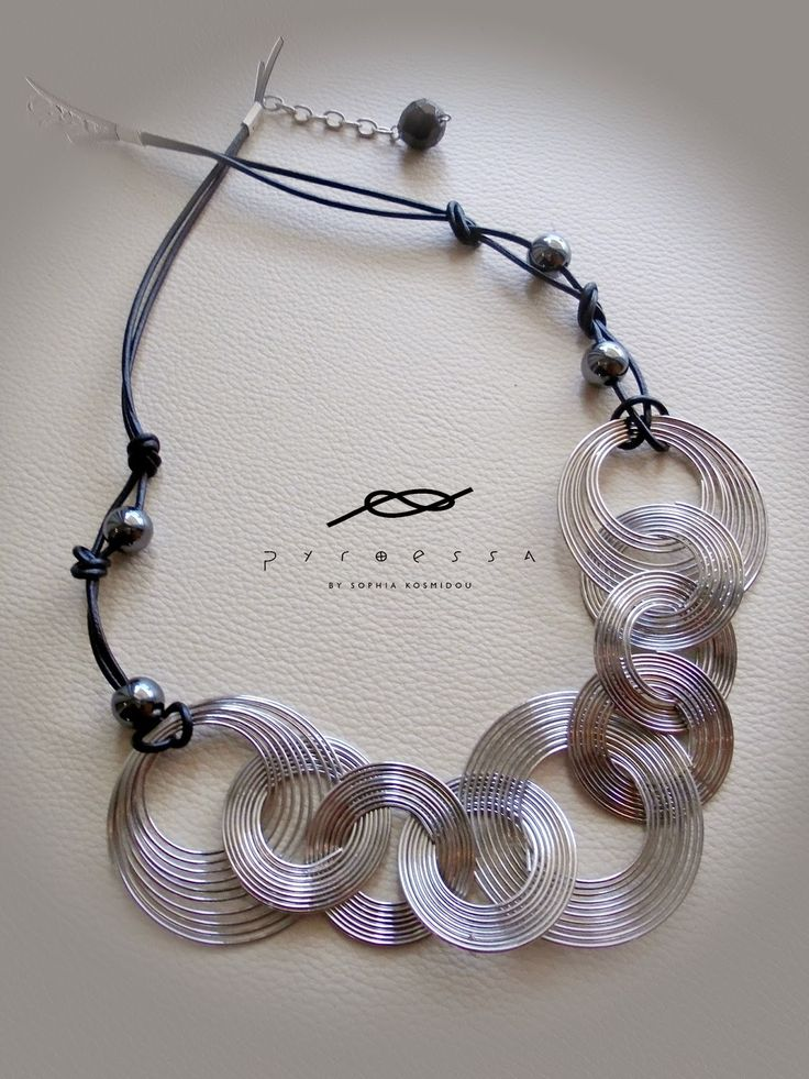 """Pyroessa Handmade: """"In rock"""" Leather necklace with hematite & chain"""