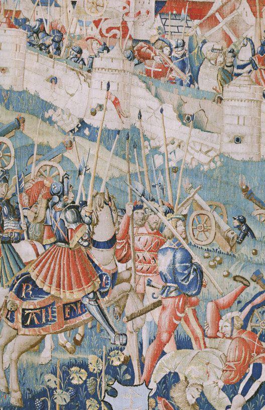Tapisserie du siège de Dijon, 1513 (musée des Beaux-Arts, Dijon): 4° guerre d'Italie: dernier épisode. Les Suisses, autre composante de la coalition antifrançaise, se rassemblent à Zurich. Au nombre de 30000 environ ils se dirigent vers Besançon et la Franche-Comté, un territoire qui est passé sous la tutelle de Maximilien de Habsbourg en 1483, à la suite de son mariage avec Marie de Bourgogne.