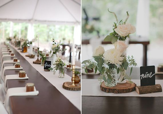 Nappe Effet Bois : Country Wedding Table Centerpiece Ideas