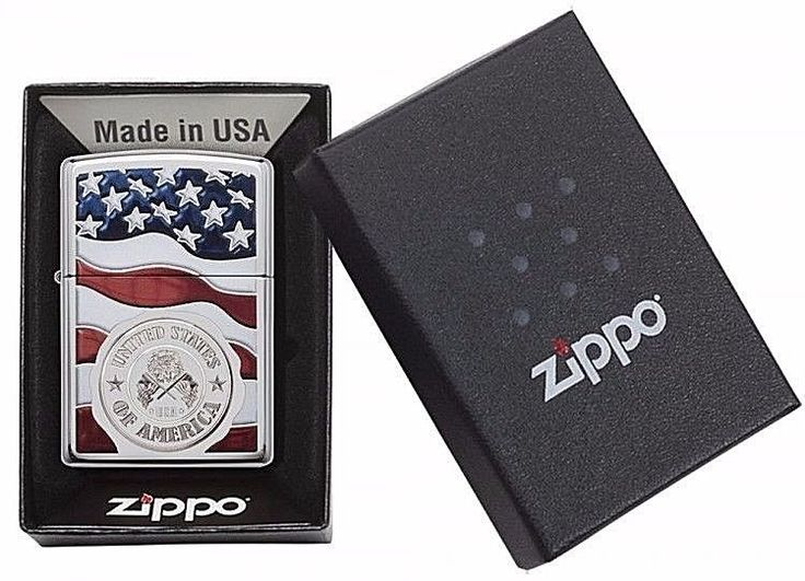 Windproof Zippo Original Classic Pocket Lighter With American Flag Design New #Zippo
