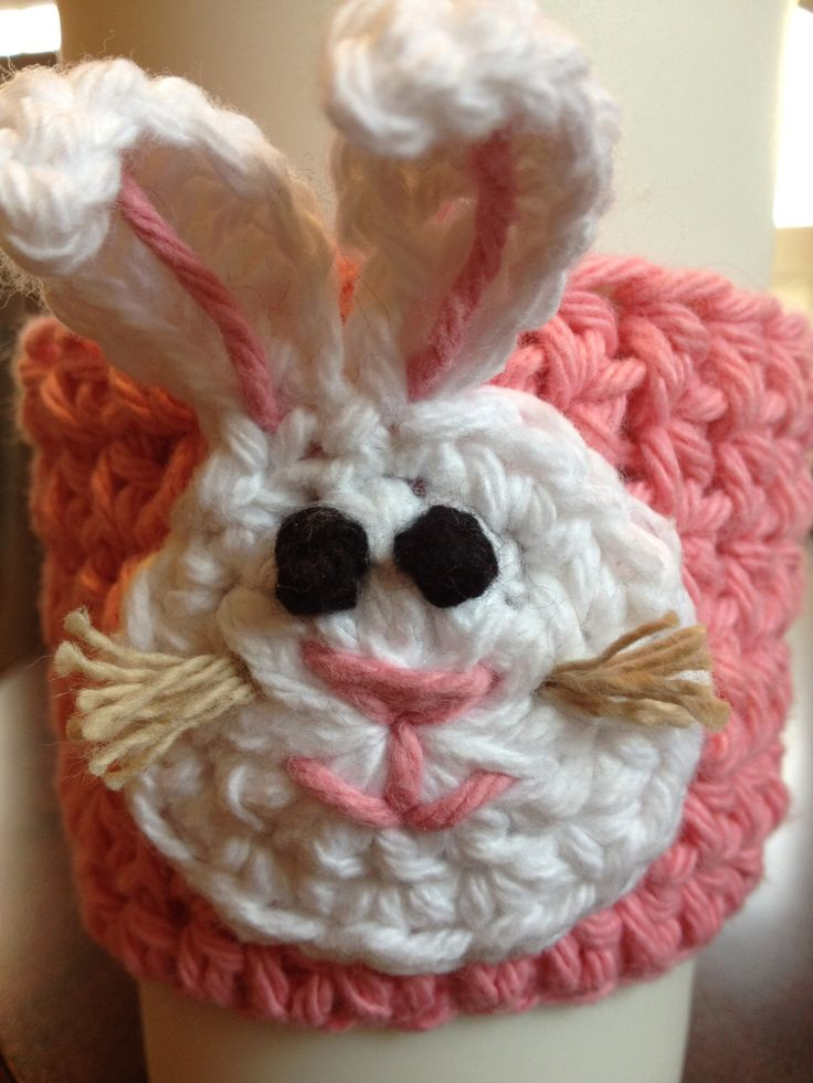 Handmade Crocheted Eco Friendly Coffee Cup Mug Sleeve Cozy with Bunny Rabbit for Easter by handmadebymellon on Etsy https://www.etsy.com/listing/178475063/handmade-crocheted-eco-friendly-coffee