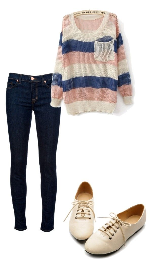oversized sweater with dark-wash skinny jeans and cream oxfords :)