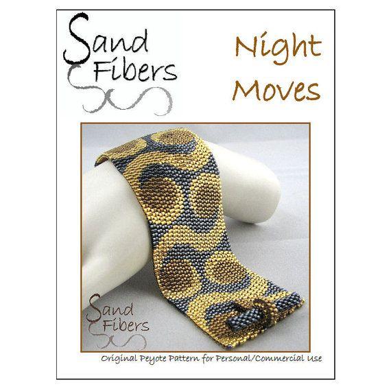 Peyote Pattern  Night Moves Peyote Cuff / Bracelet   by SandFibers, $10.00