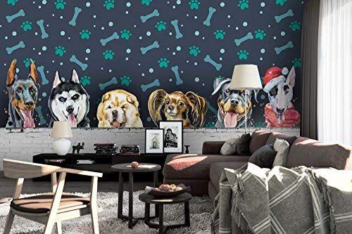 3d Cartoon Dog Wallpaper Wall Mural Self Adhesive Removable Wallpaper Feature Wall Deco Photo Mural 40 Zy Premi In 2020 Feature Wall Wallpaper Wall Murals Wall Deco