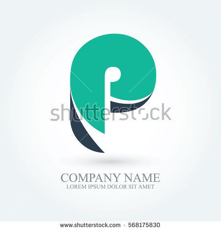 initial letter p creative circle logo typography design for brand and company identity. green and dark blue color