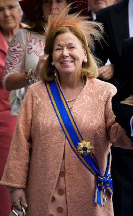 Dutch Princess Christina leaves the Nieuwe Kerk after the investiture ceremony of King Willem-Alexander in Amsterdam