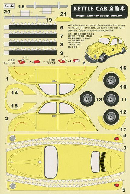 Bettle Car [sic] - Cut Out Postcard | Flickr: Intercambio de fotos. For Linda ... ladies nostalgia party.