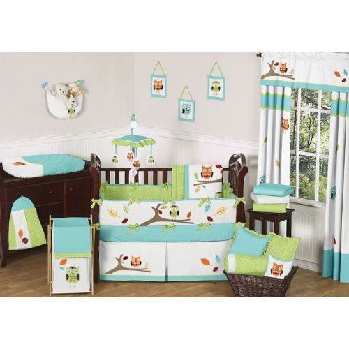 Turquoise and Lime Hooty Owl Unisex Baby Boy or Girl Bedding 9 pc Crib