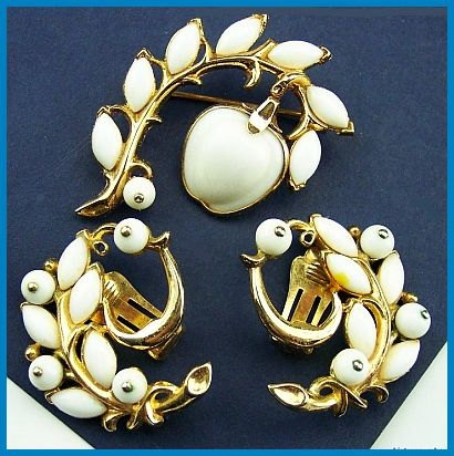 Vintage Brooch Pin Earring Set SIGNED TRIFARI Apple Fruit White Rhinestone Gold Metal EX. $34.50, via Etsy.