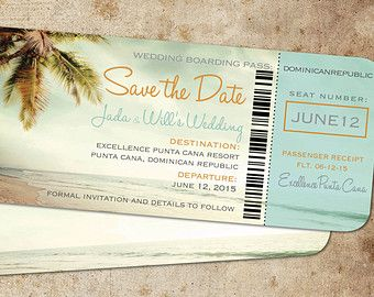 Rose Gold Boarding Pass Save the Dates Shimmer Font Lettering
