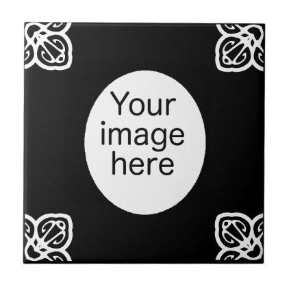 Black Spanish tile oval photo frame - wedding decor marriage design diy cyo party idea