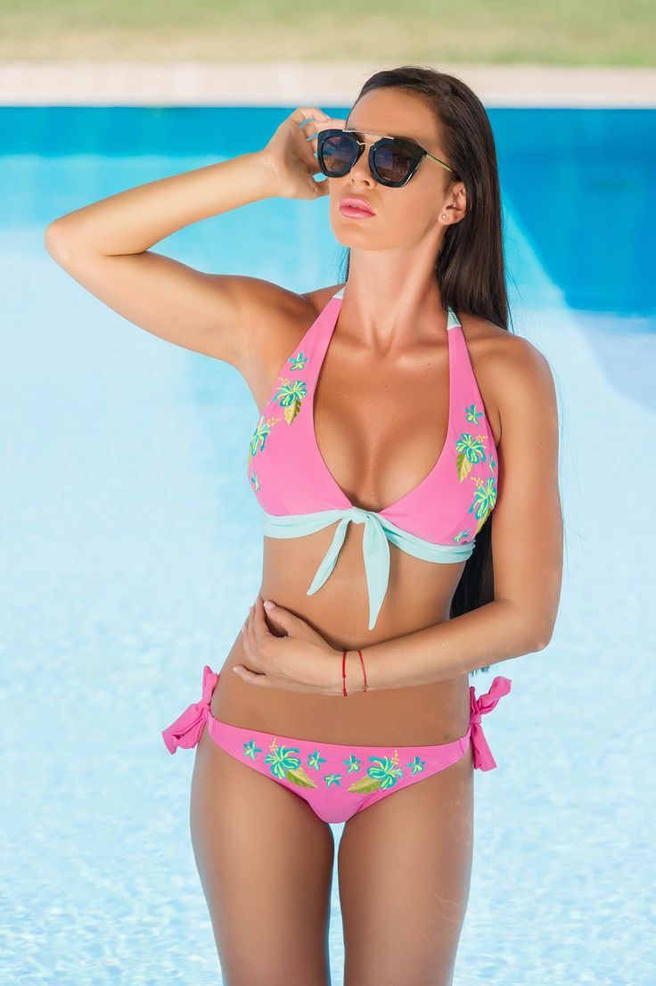 StarShinerS Brodat Malaysia Rosa Swimsuit, women`s swimsuit, non padded bra, back fastening and adjustable tie neck bra, embroidery details, elastic and fine fabric