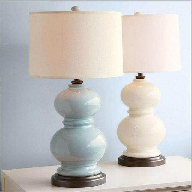 Современный Китайский Синий/Белый Керамический Тыква Ткань Led E27 Настольная Лампа для Свадебный Декор Спальня Прикроватные Гостиной Свет 1344
