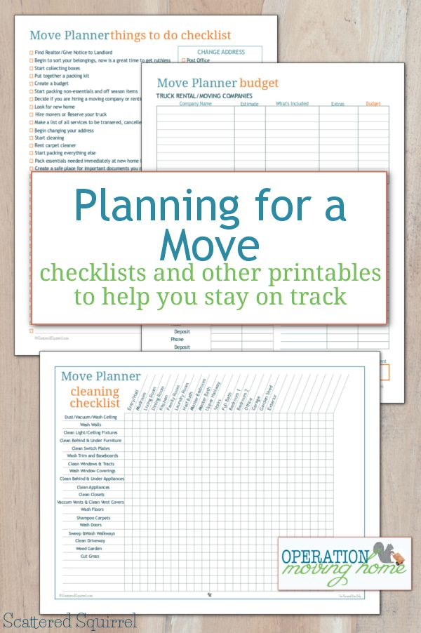Free move planner printables to help keep track of all the little details that go along with moving.