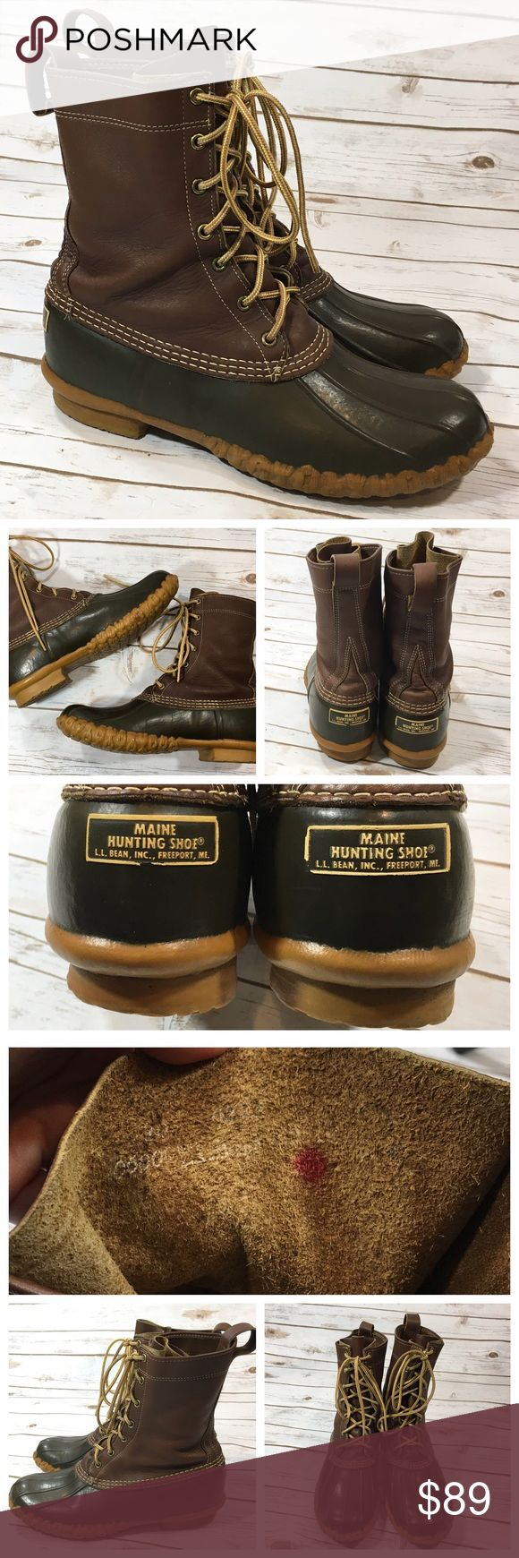 """LL Bean Men's Maine Hunting Shoe Boots L.L. Bean Maine Hunting Shoe. Brown leather and dark green rubber boots. Lace up closure. Rubber sole.  Labeled size 10 men's.  Boot shaft measures 8.5"""" tall.  Very good condition. They have a red dot inside of each boot. Boots are in great shape, bottom soles show hardly any wear. They each have silver writing on the bottom sole as shown. Uppers have no major flaws to note. I recently applied a fresh coat of leather conditioner, they'll come to you…"""