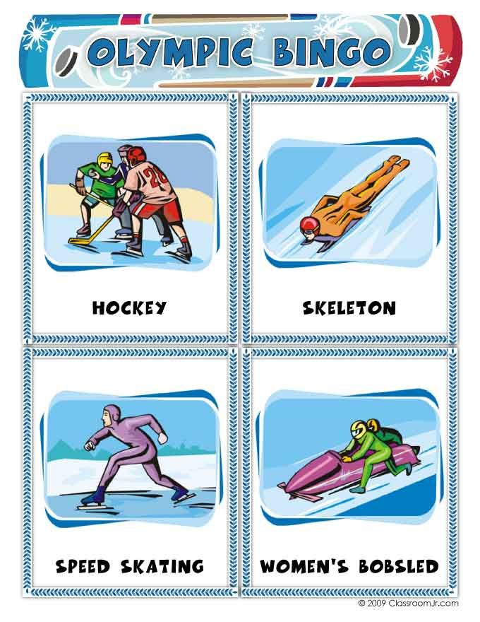 Download and print these free bingo cards with a winter Olympics theme, perfect for Olympics party games for kids!
