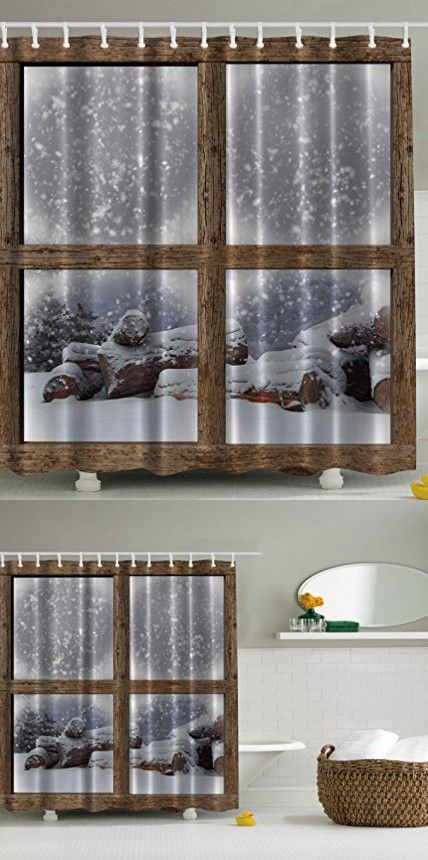 Rustic Winter Christmas Shower Curtain by Ambesonne, Snowy Woodsy Wooden Frame Window View Print for Lake and Mountain House Home Bath Cozy Decor Soft Colors His and Hers Fabric White Khaki Gray