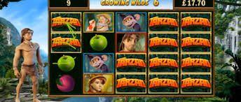 TARZAN - VIDEO GAME  With an occasional backflip and beat of his chest, Tarzan struts his stuff in this stunning 40-line rumble in the jungle. But he doesn't ride on looks alone. When three or more scatters land on the reels in the base game, the Bonus Wheel emerges from the undergrowth and offers the chance to win one of four prizes: 12 free spins, four cash multipliers, an incredible jackpot or the Pick-a-Potamus, in which players wallow in wins when they select up to 12 prize-bearing…
