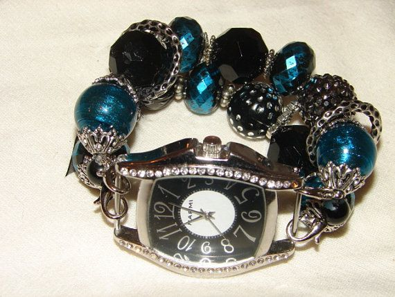 Black and Aqua Beaded Watch Chunky Beaded Watch in by BeadsnTime, $30.00