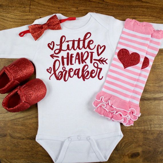 my first valentines day outfit little heart breaker onesie w pink - Infant Valentines Day Outfits