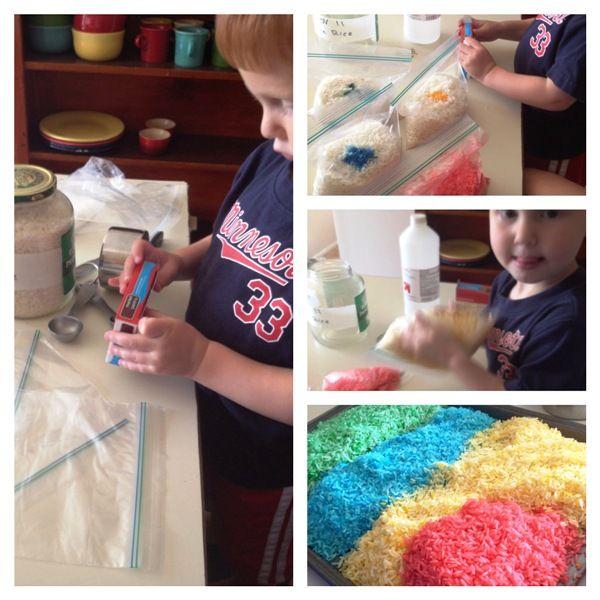 Montessori en un blog Presupuesto: DIY Montessori Materiales Sensorial: Arroz coloreado