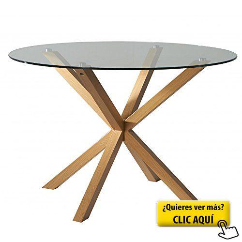 Mesa redonda cristal templado transparente,... #mesa #redonda